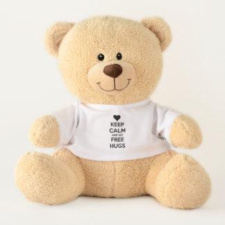 keep calm and get free hugs teddy bear
