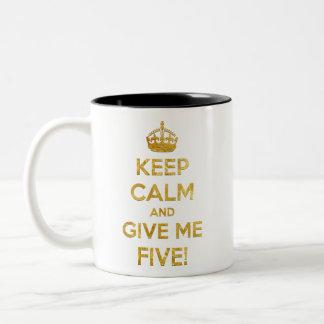 keep calm and give me five Two-Tone coffee mug