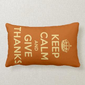 Keep Calm and Give Thanks Harvest Orange Lumbar Pillow