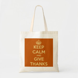 Keep Calm and Give Thanks Harvest Pumpkin Tote Bag
