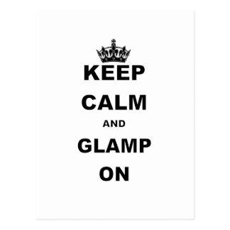 KEEP CALM AND GLAMP ON POSTCARD