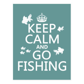 Keep Calm and Go Fishing Postcard