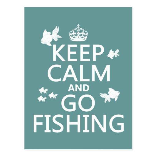 Keep Calm and Go Fishing Postcard