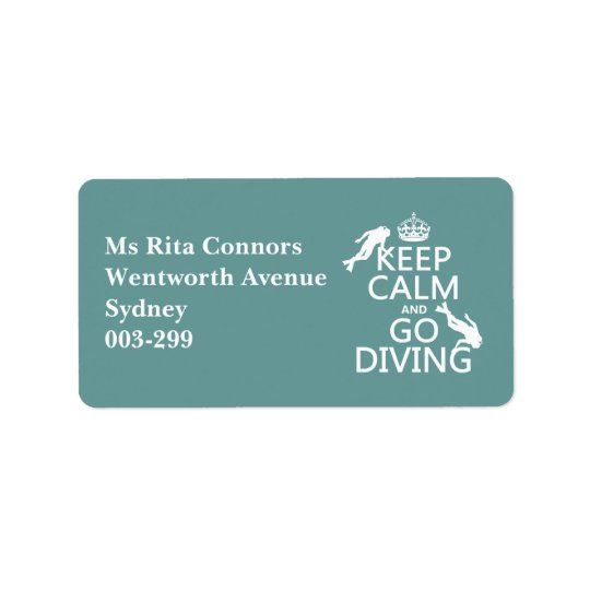 Keep Calm and Go (scuba) Diving (all colours) Label