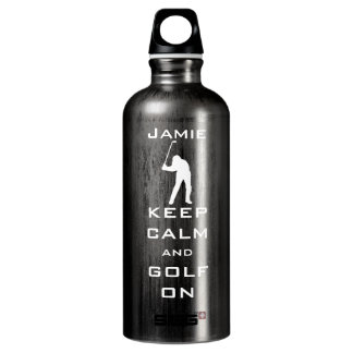 KEEP CALM AND GOLF ON PERSONALIZED WATER BOTTLE