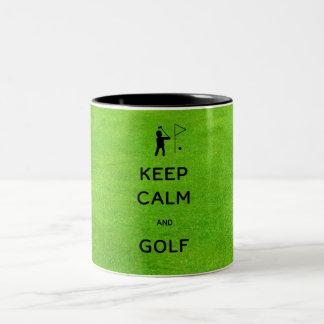 Keep Calm and Golf Two-Tone Coffee Mug