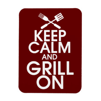 Keep Calm and Grill On Premium Magnet Rectangular Photo Magnet