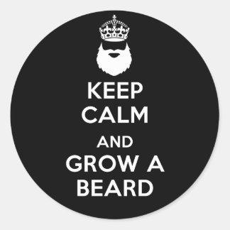 Keep Calm and Grow A Beard Round Sticker