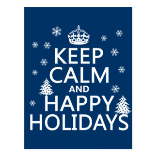 Keep Calm and Happy Holidays Postcard