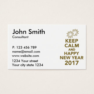 Keep calm and happy new year 2017 business card