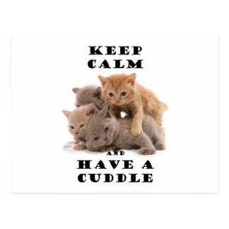 keep calm and have a cuddle kittens postcard