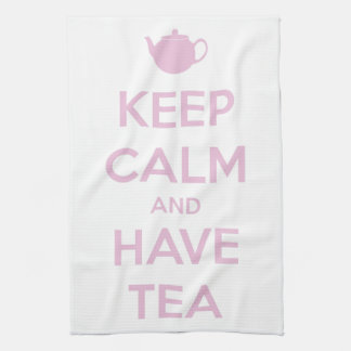 Keep Calm and Have Tea Pink on White Towel