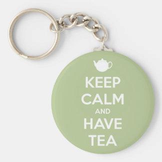 Keep Calm and Have Tea Sage Green Keychain Basic Round Button Keychain