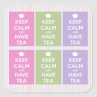 Keep Calm and Have Tea Square Sticker