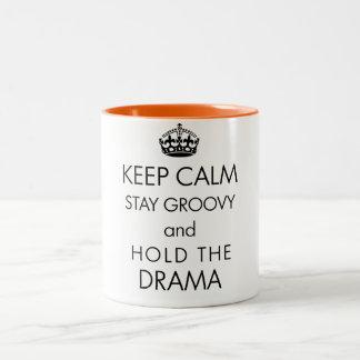 Keep Calm and Hold the Drama Two-Tone Coffee Mug
