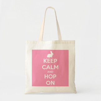 Keep Calm and Hop On Pink and White Tote Bag
