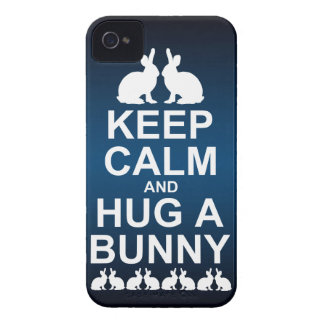 Keep Calm and Hug a Bunny iPhone 4 Case (Blu/Blk)