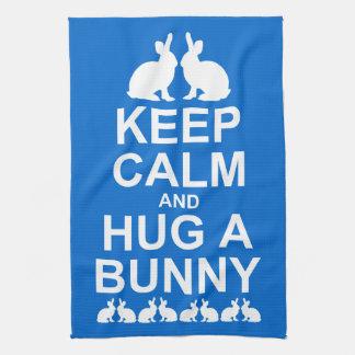 Keep Calm and Hug a Bunny Kitchen Towel (Mid Blue)