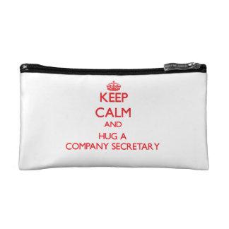 Keep Calm and Hug a Company Secretary Cosmetic Bags
