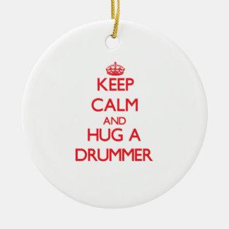 Keep Calm and Hug a Drummer Christmas Tree Ornament