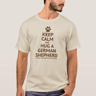 Keep Calm and Hug a GSD - Brown Text T-Shirt