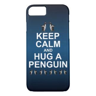 Keep Calm and Hug a Penguin iPhone 8/7 Case (Blue)
