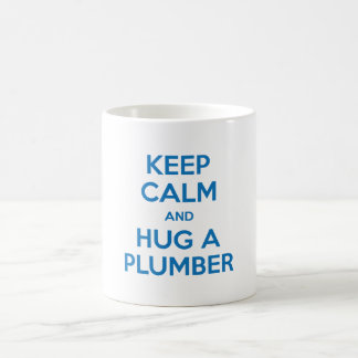 Keep Calm and Hug A Plumber Mug (Blue on White)