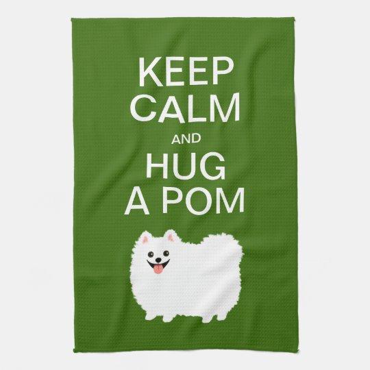 Keep Calm and Hug a Pom - Cute White Pomeranian Hand Towels