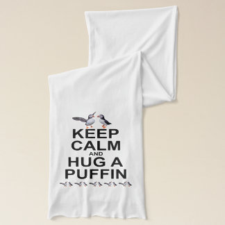 Keep Calm and Hug a Puffin Scarf (Light Colours)