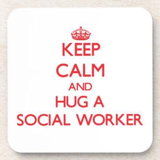 Keep Calm and Hug a Social Worker Drink Coaster