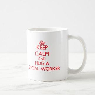 Keep Calm and Hug a Social Worker Basic White Mug