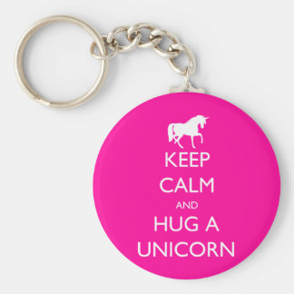 Keep Calm and Hug a Unicorn Keychain