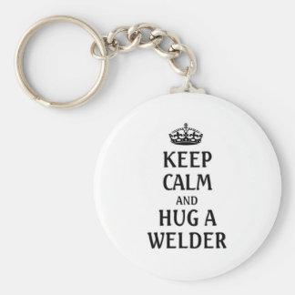 Keep calm and hug a welder basic round button keychain