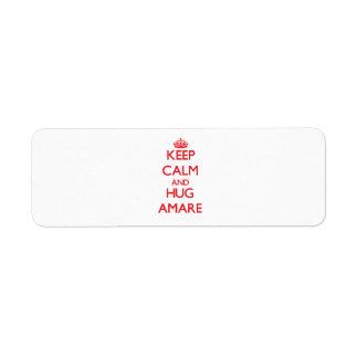 Keep Calm and HUG Amare Return Address Label
