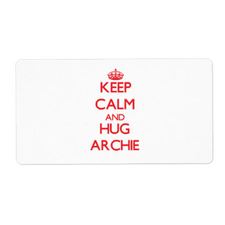 Keep Calm and HUG Archie Personalized Shipping Label