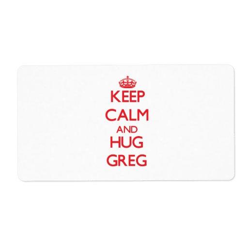 Keep Calm and HUG Greg Shipping Label