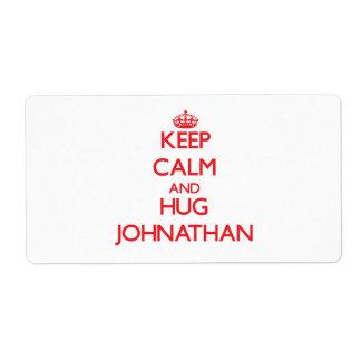 Keep Calm and HUG Johnathan Shipping Label