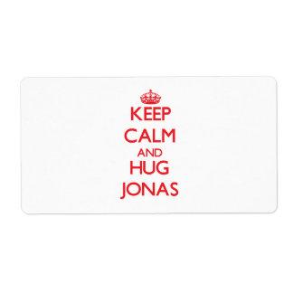Keep Calm and HUG Jonas Custom Shipping Labels
