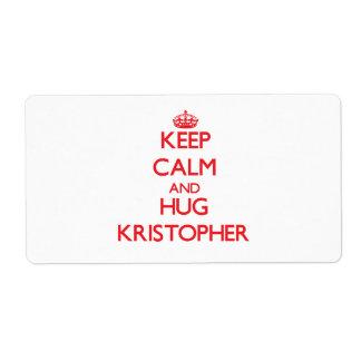 Keep Calm and HUG Kristopher Shipping Label