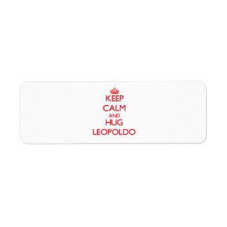 Keep Calm and HUG Leopoldo Custom Return Address Label