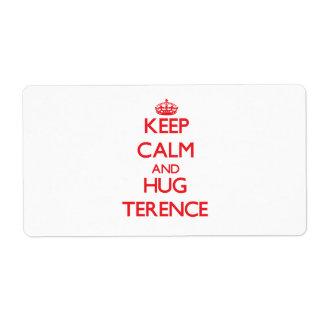 Keep Calm and HUG Terence Custom Shipping Labels