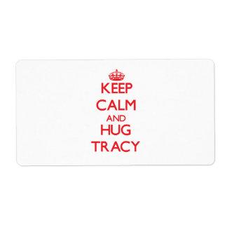 Keep Calm and HUG Tracy Shipping Label