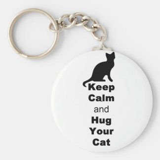 Keep Calm and Hug Your Cat Basic Round Button Keychain
