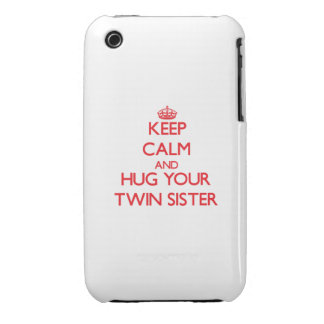 Keep Calm and HUG  your Twin Sister Case-Mate iPhone 3 Cases