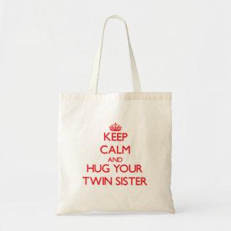 Keep Calm and HUG  your Twin Sister Tote Bag