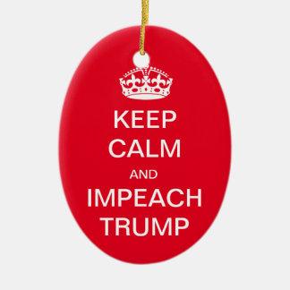 Keep Calm and Impeach Trump Ceramic Oval Ornament