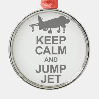 Keep Calm and Jump Jet Metal Ornament