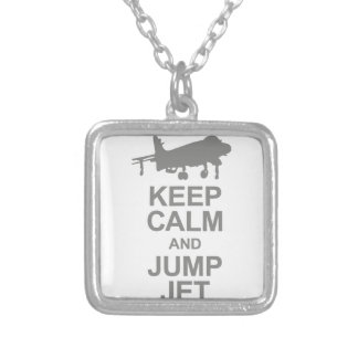Keep Calm and Jump Jet Silver Plated Necklace