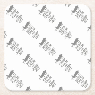 Keep Calm and Jump Jet Square Paper Coaster