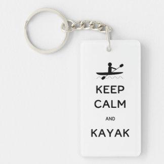 Keep Calm and Kayak Single-Sided Rectangular Acrylic Keychain